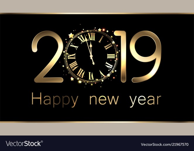 Black 2019 new year background with clock.
